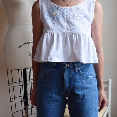 Vintage 1940s Tablecloth Top   Reworked Vintage Blouse with Ruffle   Hand-Embroidered   Embroidered Pixel Floral   S by wemcgee