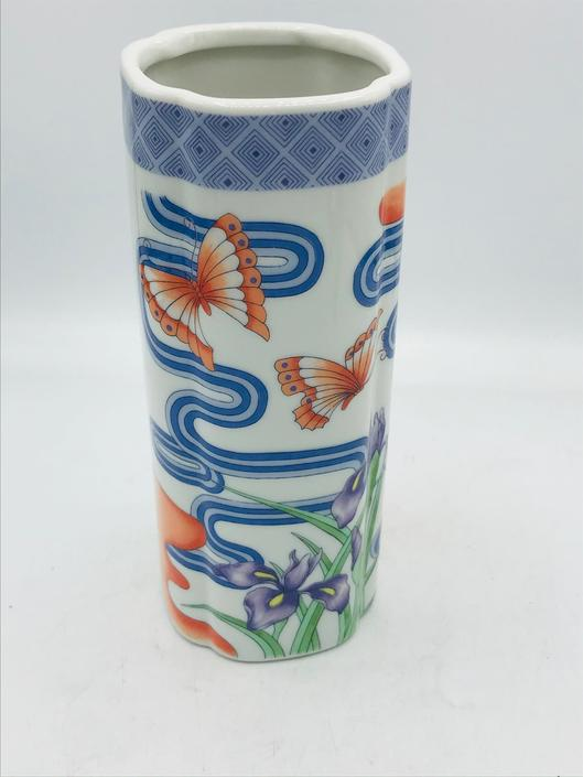 """Vintage Fuji Quality China  Kutani  Japanese Porcelain Vase with beautiful Butterflies and Iris- 8"""" Orange Blue by JoAnntiques"""