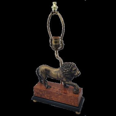 Sculpted Brass Lion Table Lamp on Faux Burlwood Base