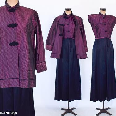 1940s Black Satin Hostess Set   40s Black Satin & Pink Taffeta Set    Medium by GlennasVintageShop