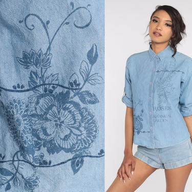 Floral Chambray Shirt Y2K Blouse Blue Button Up Shirt Short Sleeve Bohemian Blouse 00s Small by ShopExile