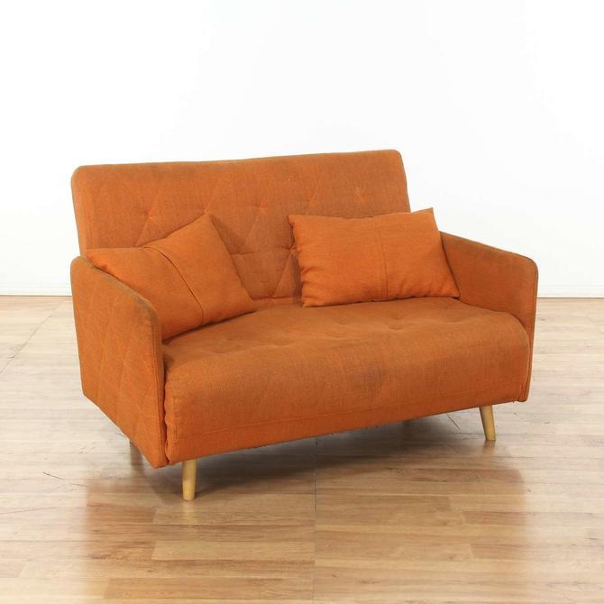 Mid Century Modern Orange Loveseat