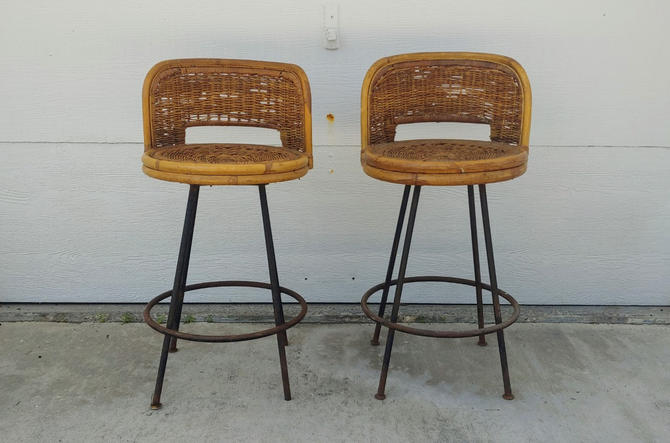 Vintage Modern Swivel Wicker and Wrought Iron Counter Height Stools - Set of 2 by ModandOzzie