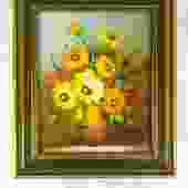 Vintage Framed Floral Painting - Vertical