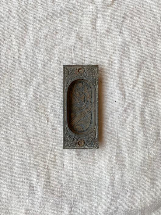 Antique Branford Brass Pocket Door Handle Ornate Salvaged Hardware by NorthGroveAntiques