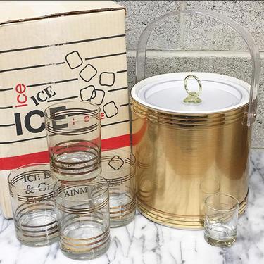 Vintage Ice Bucket and Glass Set Retro 1980s Custom Deco Inc + Gold Metal + Plastic Handle + 4 Whiskey Glasses + Shot Measuring Cup + Bar by RetrospectVintage215