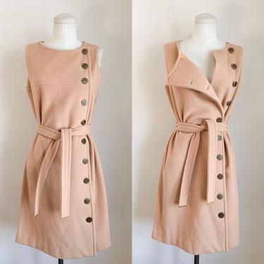 Vintage 1960s Camel Wool Dress / Vest Coat // M by MsTips