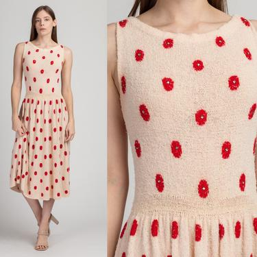 1940s Pink Polka Dot Knit Midi Dress - Small to Medium | Vintage 40s Sleeveless Jeweled Drop Waist Dress by FlyingAppleVintage