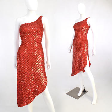 1970s Red Sequin Wiggle Dress - 1970s Bombshell Wiggle Dress - Vintage Sequin Wiggle Dress - Vintage Red Cocktail Dress  | Size XS / Small by VeraciousVintageCo