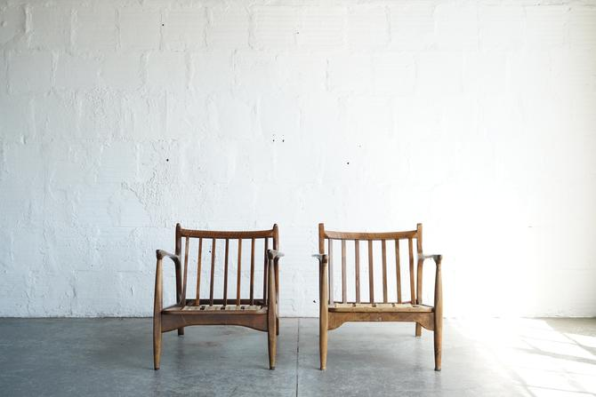 Pair of American Walnut Lounge Chairs