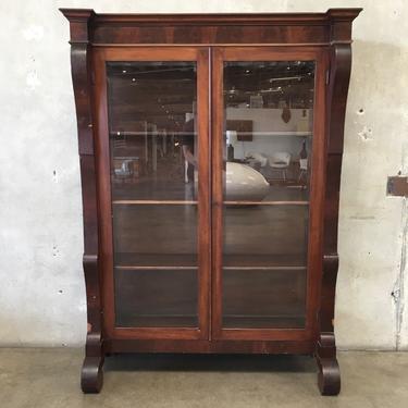 Empire Antique Mahogany Bookcase or Curio Cabinet