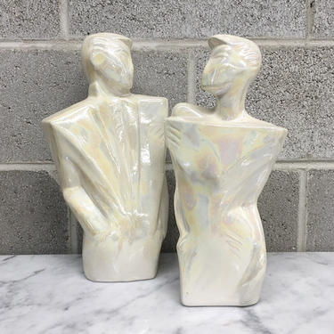 Vintage Statue Set Retro 1990s Contemporary + Couple + Man and Woman + Lovers + Ceramic + Iridescent + Sculptures +Home and Shelving Decor by RetrospectVintage215