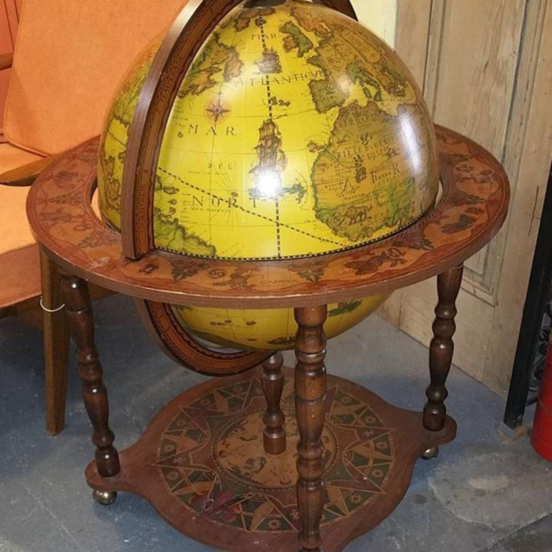 Rolling Globe Bar Cart 125 From Vintage Mc Of Frederick