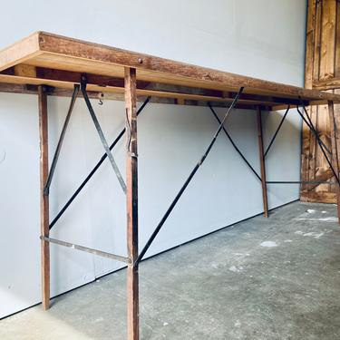 Antique Folding Wallpaper Table   Long Wood Table   Portable Table   Entryway Table   Console Table   Metal Base   Industrial by PiccadillyPrairie