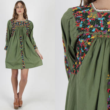 Army Green Oaxacan Dress / Long Sleeve Mexican Dress / Womens Hand Embroidered Sleeves / Traditional Ethnic Made In Mexico Mini Dress by americanarchive