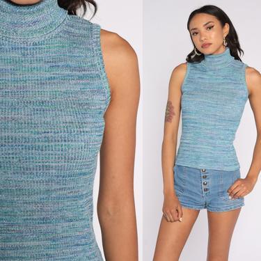 Knit Tank Top 90s Turtleneck Shirt Sleeveless Sweater Shirt Space Dye Sweater Top Blue Shirt Boho Shirt Bohemian Stretch 1990s Vintage Small by ShopExile