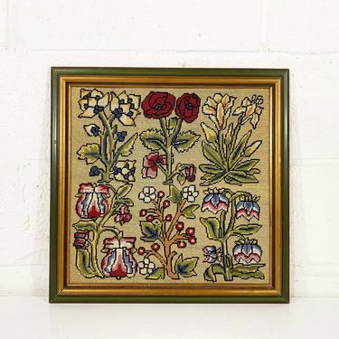 Vintage Flowers Needlepoint Floral Crewel Framed 1970s 70s Kitsch Retro Decor Wall Hanging Kitschy Pink Flower Handmade Framed Roses Iris by CheckEngineVintage