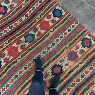 """Antique 5'2"""" x 8'9"""" Large Kilim Rug Geometric Red Cream Blue Navy Wool Flatwoven Rug 1880s - FREE DOMESTIC SHIPPING by HouseofSeance"""