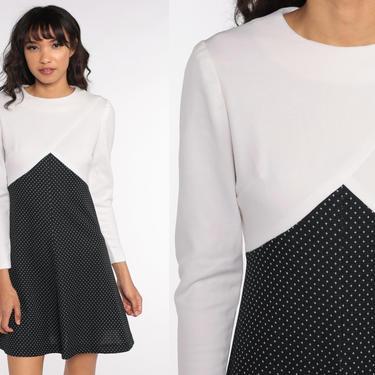 70s Babydoll Dress Black White Polka Dot Mod Mini Vintage Empire Waist Long sleeve 60s Minidress 1970s Small Medium by ShopExile