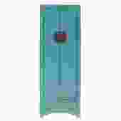 Oriental Distressed Light Aqua Blue Lacquer Moonface Slim Storage Cabinet cs5161S