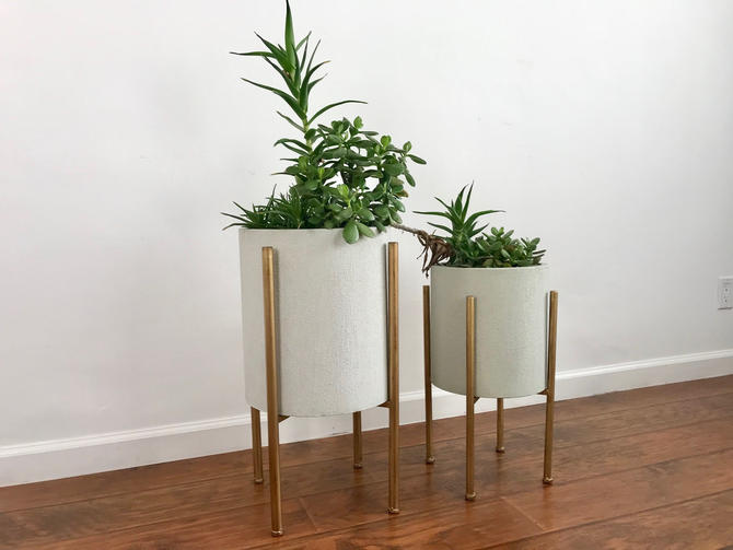 MID CENTURY MODERN Style Pair of Planters by HouseCandyLA