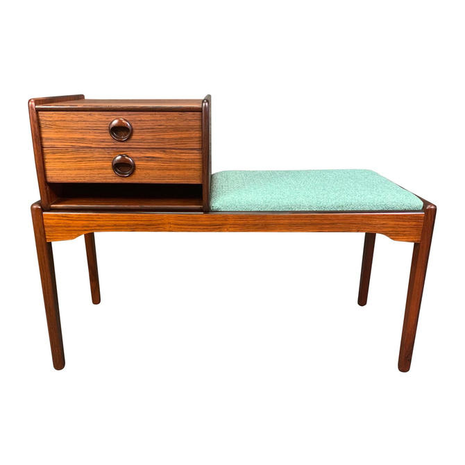 Vintage Danish Mid Century Modern Rosewood Telephone Bench/Entry Way Console by AymerickModern