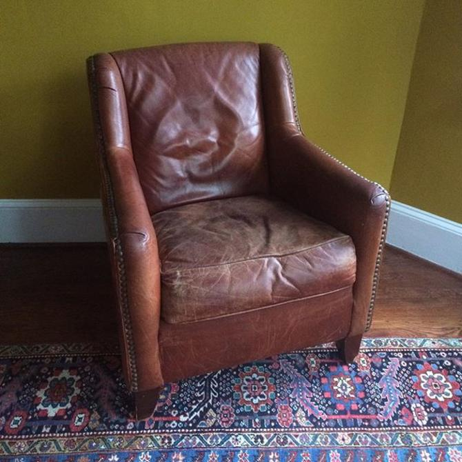 Swell Leather Reading Chair With Studded Accents Matching Ottoman Not Pictured Gmtry Best Dining Table And Chair Ideas Images Gmtryco