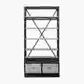 Iron Frame Driftwood Shelves Industrial Bookcase Display Cabinet cs5414S