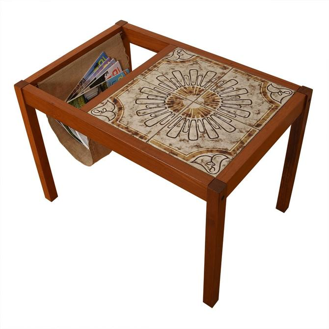 Danish Modern Teak Tile Top Magazine Table w/ Canvass