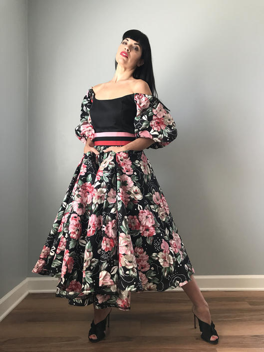 Vintage 80s Victor Costa Floral Fit + Flare Dress w/ Puff Sleeves Crinoline by SpeakVintageDC