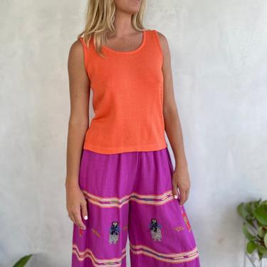 90s Vintage St John Peachy Orange Knit Tank Top - Perfect Peach Summer Shirt - Couture Blouse by LittleSparkVintage
