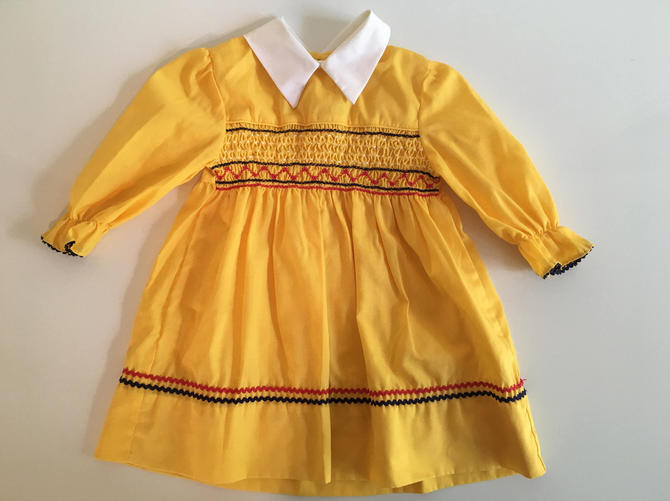 Vintage Children's Smocked Yellow Dress Polly Flinders Kid's Long Sleeve Girl's Dress Peter Pan Collar Children White Navy Red by CheckEngineVintage