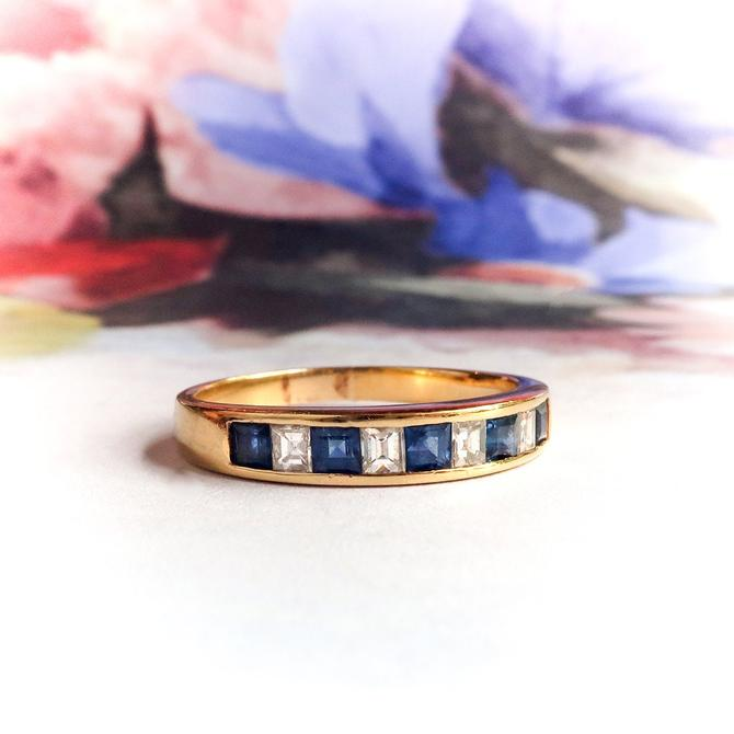 Estate Step Cut Sapphire and Diamond Stacking Anniversary Ring Wedding Band 18K Yellow Gold by YourJewelryFinder