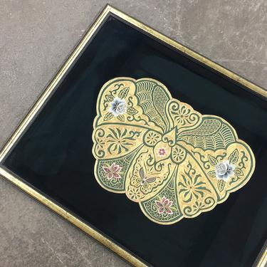 Vintage Embroidery 1960s Retro Size 24x30 Butterfly + Gold + Handstitched + Flower Crewels + Butterflies + Ornate Home and Wall Decor by RetrospectVintage215