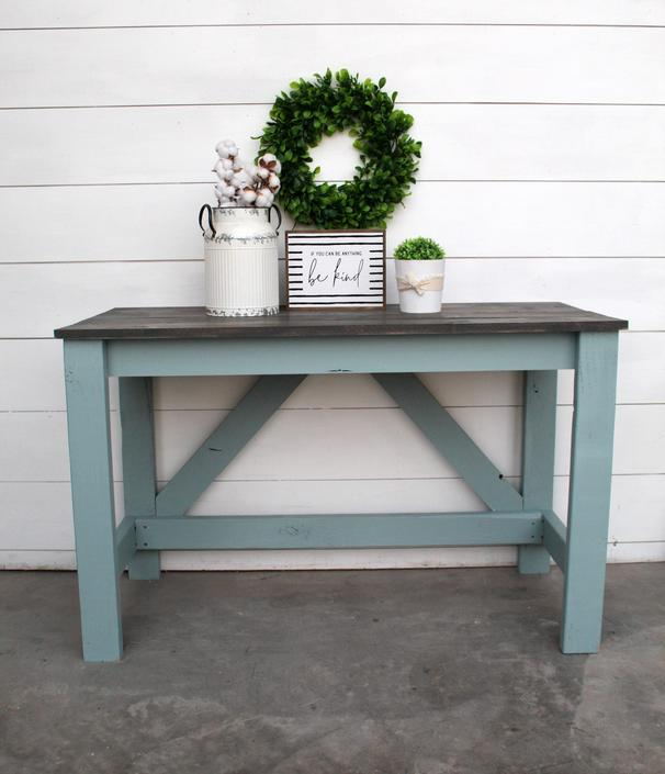 4ft Persian Blue \/ Grey Stain Finish Desk