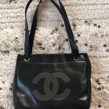 Vintage CHANEL XL Studded CC Monogram Logo Black Leather Shoulder Bag Tote Purse by MoonStoneVintageLA