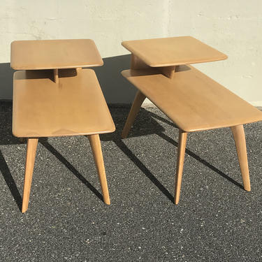 Pair Heywood Wakefield step end tables by QuaboagValleyAntique