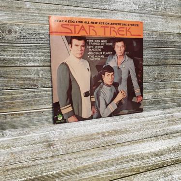 Vintage Star Trek Record, 1970s Sci-Fi Stories, The Robot Masters, Dinosaur Planet, Captain Kirk, Spock, Vintage Vinyl Peter Pan Records by AGoGoVintage