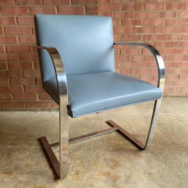 Authentic Knoll BRNO Chair with Flat Bar Light Blue Leather by MSGEngineering
