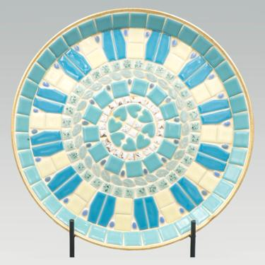 Blue and White Mosaic Tile Gold Serving Tray | Vintage Mid Century Modern Serveware | Turquoise and White Tiles Round Salver by MostlyMidCenturySF