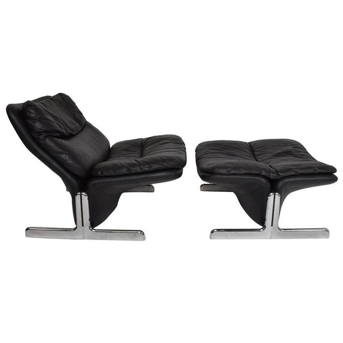 Mid-Century Modern Leather Lounge Chair and Ottoman by Ammanati & Vitelli by AMBIANIC