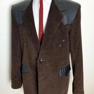 Vintage PIONEER WEAR Western Blazer ~ size 46 Long ~ jacket / sport coat ~ Leather / Corduroy ~ Rockabilly / Cowboy by SparrowsAndWolves