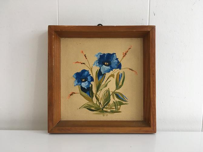 Vintage Framed Floral Original Painting Art 1947 Flowers Blue Green Pink 1940s Wood Frame Painted by German Artist Rudolf Schmidt Painter by CheckEngineVintage