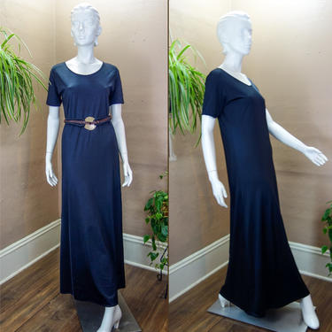 Minimalist Loose Black Maxi Length Stretch Dress Size Medium, Simple Witchy Goth Clothing, Drapey Long Dress with Short Sleeve Scoop Neck by forestfathers