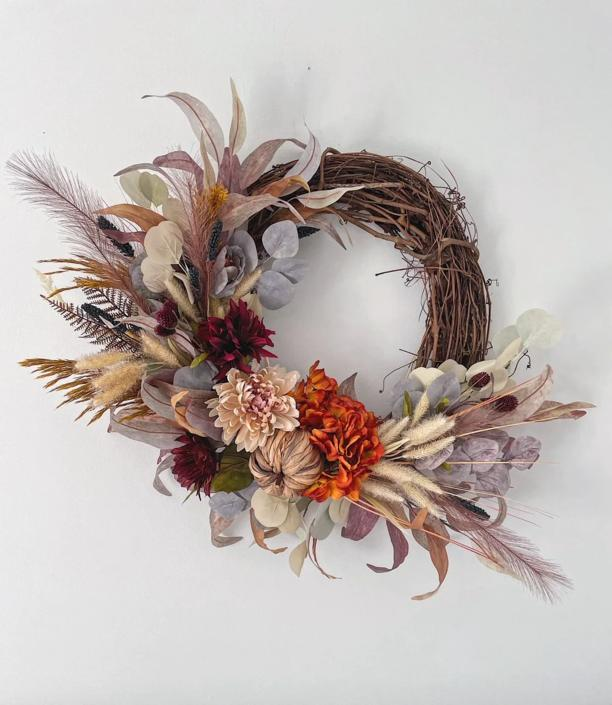 Plume Fall Wreath with Burnt Orange Pampas Grass, Boho Moody Fall Wreath by NovaWreaths