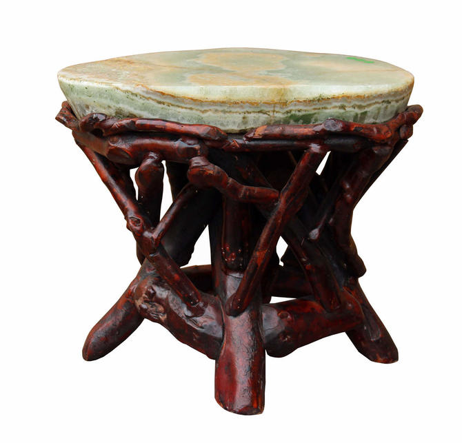Crystal Jade Stone Top Bamboo Wood Stick Accent Stool Table cs2411E by GoldenLotusAntiques