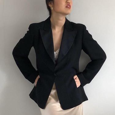 90s tuxedo blazer / vintage Ellen Tracy black crepe + satin tuxedo cocktail blazer evening jacket   S by RecapVintageStudio