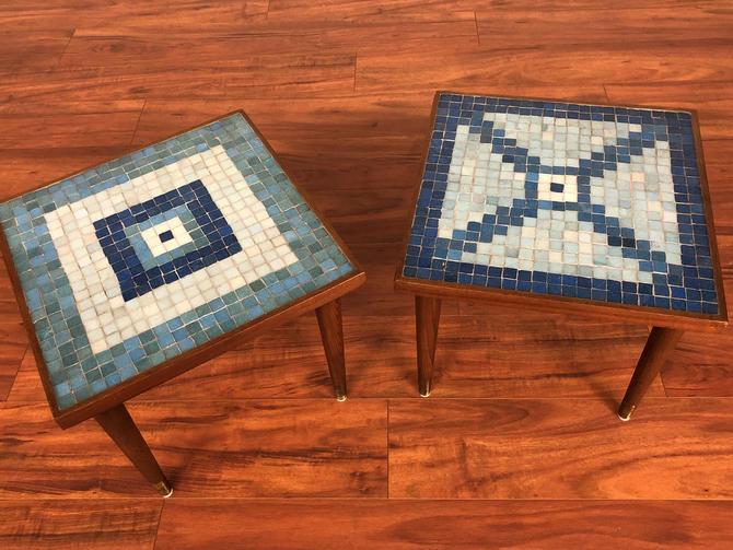 Mosaic Tile Top Walnut End Table Pair by Vintagefurnitureetc