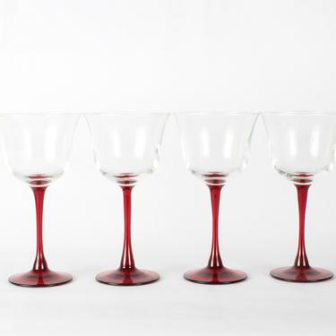Vintage Red Wine Glassware, Wedding Decor, Vintage Glassware, Wine Glassware, Red Glassware, Set of 4 by 1882BlueVintage