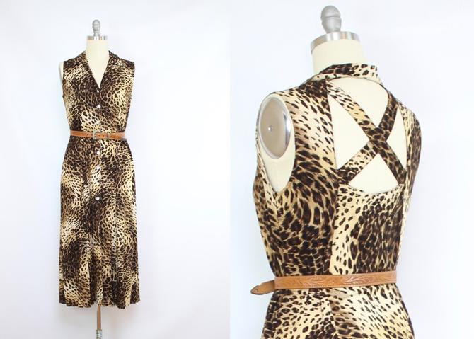 Vintage 90's Animal Print Midi Dress / 1990's Open Back Midi Dress / Minimalist / Button Up Rayon Dress / Summer / Women's Size Medium by RubyThreadsVintage